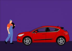 Cartoon graphic of a male echanic carries tire toward a red car.
