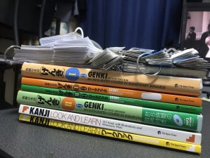 Japanese textbooks and cards. Photo: R. Baquero