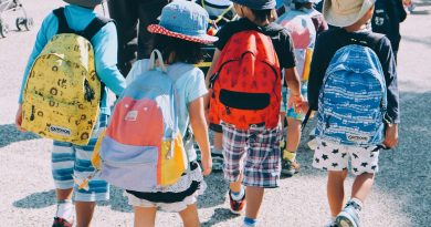 School children walking in a group while wearing colorful backpacks.