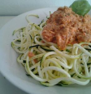 Spaghetti made from spiralized zucchini